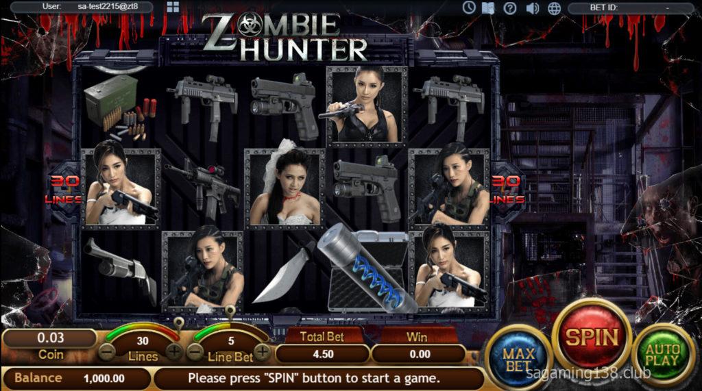 Zombie Hunter เกมสล็อตออนไลน์ 3 SA Gaming คาสิโนออนไลน์ที่ดีที่สุด